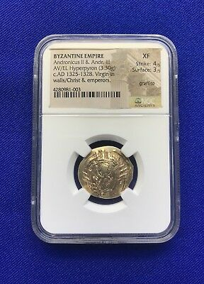 Byzantine Empire Gold Hyperpyron NGC Ancients XF Andronicus II & III, Christ Rev