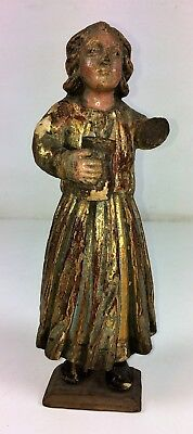 Saint With Flask. Carved Wood. Original Polychrome. Spain. Century Xviii