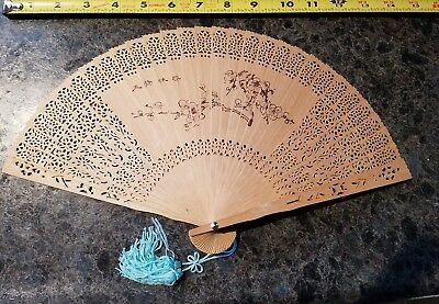 Beautiful Antique Chinese Fan Carved Wood Handheld Fan w Turquoise Tassel & case