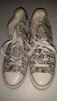 260c574730fe CONVERSE CLEAR Crystal Gems BLING White High Tops US 8 (See Description)