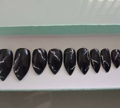 Black marble stiletto nails |Hand painted press on nails| press on fake nails