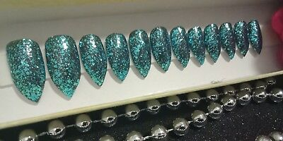 Blue glitter stiletto nails| press on fake nails | glue on nails