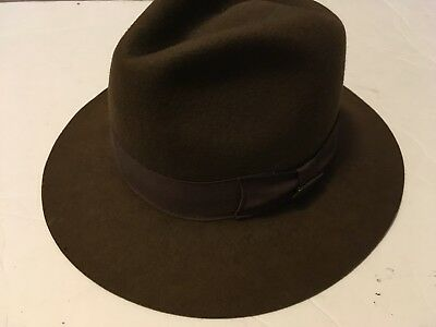 1f54813f Men's Indiana Jones Fedora 100% Wool Brown Official Licensed Hat Size M