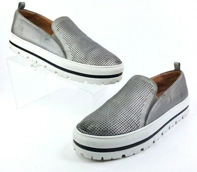 3257568abb1 HALOGEN Womens Pewter Leather Teagen Perforated Slip On Fashion Sneakers 9M