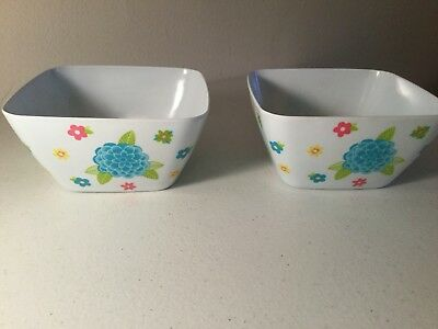 MELAMINE 2pc Cereal Soup Bowls SQUARE Floral SECRET CELEBRITY Indoor Outdoor