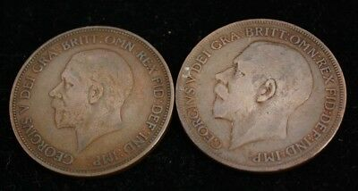 1921-1936 Georgivs V One Penny- LOT OF 2 UK COINS - Bronze - Very Fine Condition