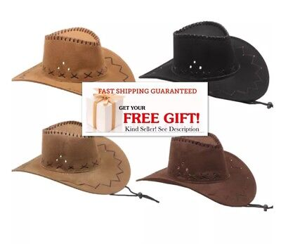6c49f51f024fb COWBOY WESTERN HAT BROWN BLACK CAMEL BUCKET Cowgirl MEN WOMEN ...