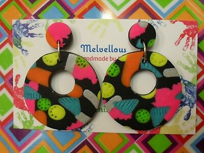 Colourful dangle earrings Melvellous polymer clay