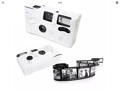 11 x HEARTS DISPOSABLE 36exp WEDDING Bridal CAMERA WITH FLASH AND TABLE CARD