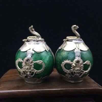 A pair of jade collection, Tibet silver hand carved statue of the snake 4.17dx07