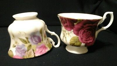 Set Of 2 Cups Royale Garden Roses Staffordshire England