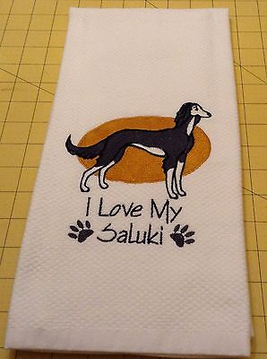 I Love My Saluki Williams Sonoma Embroidered Kitchen Towel
