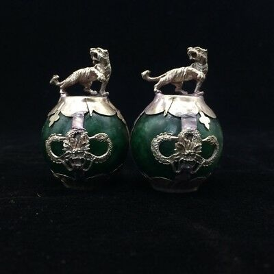 A pair of jade collection, Tibet silver hand carved statues of tiger   4.17dx02