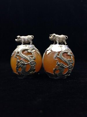 A pair of jade collection, Tibet silver hand carved statues of the pig