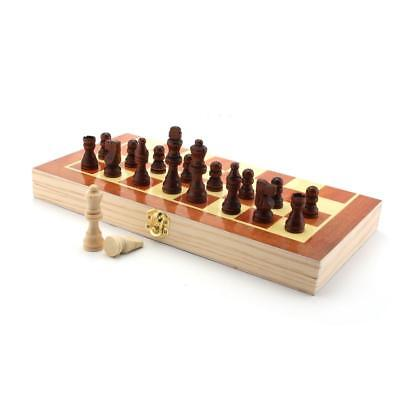 Vintage Wood Pieces Chess Set Folding Board Box Wood Hand Carved Gift Kid Toy GL