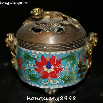Marked China Cloisonne Enamel Gold Gilt Pixiu Beast Animal Incense Burner Censer