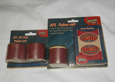 CLEARANCE Official AFL Brisbane Lions Poker Set with Bonus Chips - New In Pack