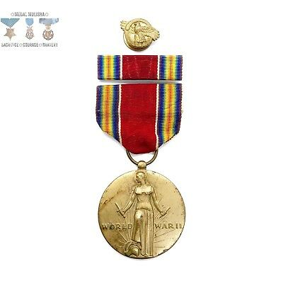 Wwii Us Victory Medal Ribbon Bar Ruptured Duck Discharge Lapel Pin Ww2 Stock#10