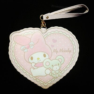 New For My Melody Heart PU Leather ID Badge Card Holder Card Case Pendant
