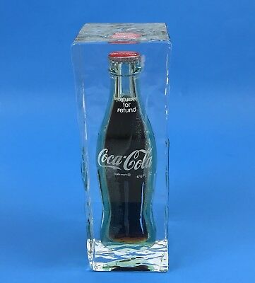 6 1/2 Fl Oz Coca Cola Glass Bottle Encased in Clear Acrylic or Lucite Ice Block