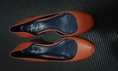 SHOES OF PREY 38.5 womens heels Leather shoes orange open toe - RRP$350+, 40.5