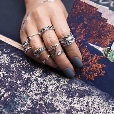 9 Pcs/Set Bohemian Gypsy Vintage Retro Style Joint Knuckle Nail Ring Set
