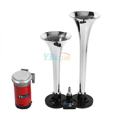Air Horn Dual Trumpet 150dB Loud For Boats Train Lorry Motorcycle Car Silver