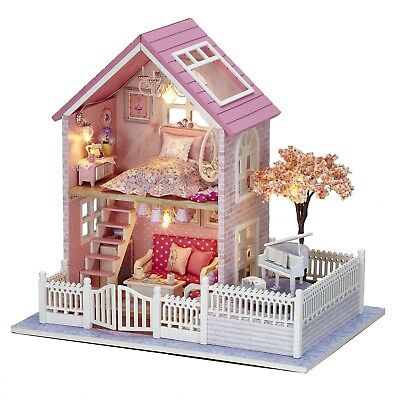 DIY Wooden DollHouse Miniature Kit w/ LED Light/Music Box All Furniture Pink