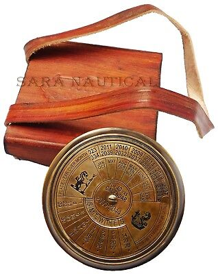 Nautical Style Brass Antique Calendar Compass With Pocket Compass Leather Case