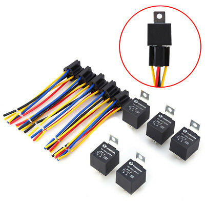 5Pcs DC 12V Car SPDT Automotive Relay 5 Pin 5 Wires w/Harness Socket 30/40 Amp G