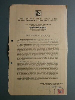 1953 Fire Insurance Policy A. B. Brassard, 37 King George Avenue, Haifa, Israel
