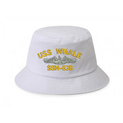 ff6836aa4b14a 100% Cotton Military White Bucket Cap Hat USS WHALE SSN-638 FISH AND SHIP