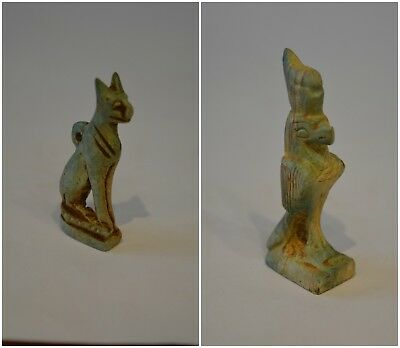 Beautiful Collection of Ancient Egyptian Cat Bastet&Horus in Falcon Form Statues