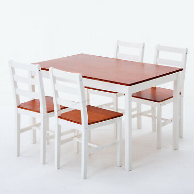 Pine Wood Dining Table And 4 Chairs Room Set Breakfast