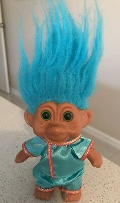 """1991 Troll Doll 4.5"""" Blue Hair Clothed  Fast Free Post"""