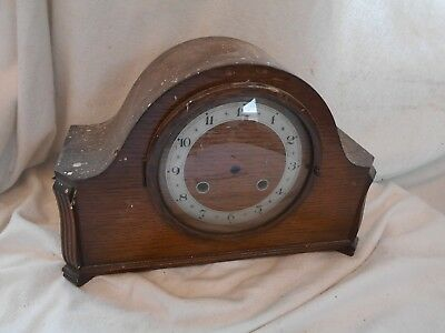 Solid WOOD Vintage CLOCK with Brass MOVEMENT 32cms needs TLC England Mantel