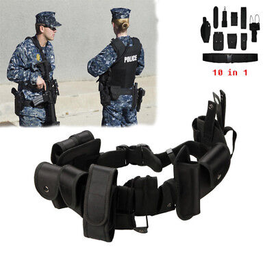 Police Guard Tactical Belt Buckles With 9 Pouches Utility Security System UK