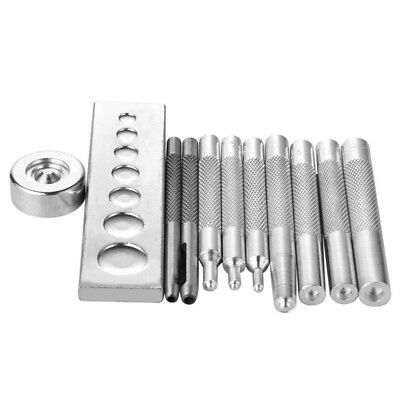 11pc Die Punch Tool Snap Rivet Setter Base Kit For DIY Leather Craft Tools Parts