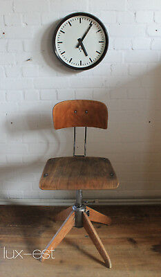 """ROWAC I"" Arbeits Dreh Holz Stuhl Industrie Design Vintage Steel Work Chair Bar"