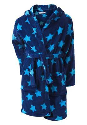 Boys Cosy Blue Stars Pattern Soft Touch Fleece Hooded Dressing Gown/Bath Robe