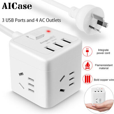3 USB Ports 4 AC Outlets Power Strip 7in1 Cube Socket Charger W/Surge Protect