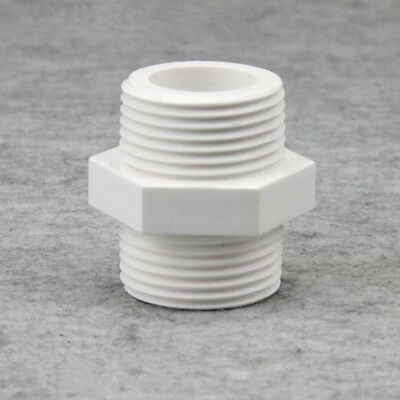 PVC White Plastic Double Threaded Pipe Connector Hex Head Fitting