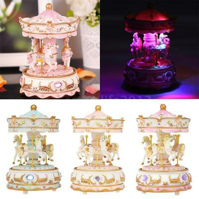 Children Girl Boy LED Light Carousel Stereo Music Box Toy Clockwork Musical W0N9