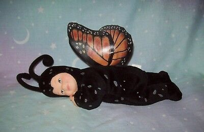 ANNE GEDDES - small butterfly doll with porcelain face and hands - beanie toy