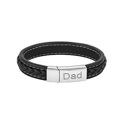 Stylish Mens Engraved Dad Bracelet Black Real Genuine Leather Fathers Day Gift