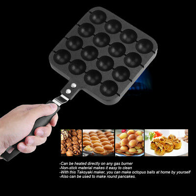 16 Holes Takoyaki Cake Maker Grill Pan Octopus Grill Tray Mold Baking Pan AU