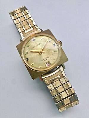 Rare Vintage Helbros Invincible Square Date Watch With Gold Filled Stretch Band