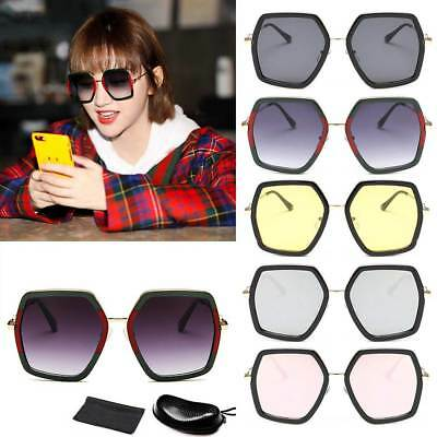 Women Oversized Gradient Sunglasses + Box UV400 Polygonal Glasses Eyewears Gift