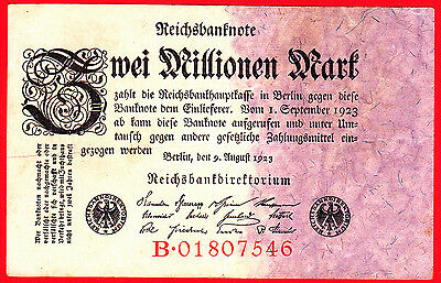 (3) Reichsbanknote Zwei Millionen Mark 9. August 1923 Nr. B 01807546