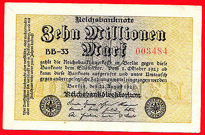 (3) Reichsbanknote Zehn Millionen Mark 22. August 1923 Nr. 003484